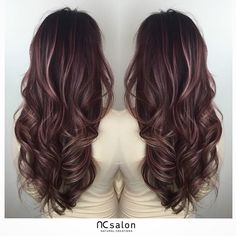 "Rose pink <a class=""pintag"" href=""/explore/balayage"" title=""#balayage explore Pinterest"">#balayage</a> highlights."