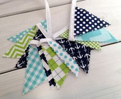 Bunting Banner Mini, Fabric Banner, Fabric Flags, Nautical Baby Nursery Decor - Anchors, Aqua Blue, Navy Blue, Lime Green, Chevron, Dots