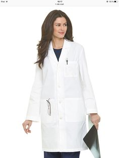 bb4e84197d7 This is a 39 inches Landau long lab coat that has a classic notched lapel  collar with a four-button closure front.