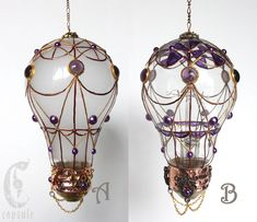 Decorative Ornament Stained Glass Light Bulb Hot Air Balloon with Purple Cabochons Holiday Christmas by CapsuleCreations on Etsy