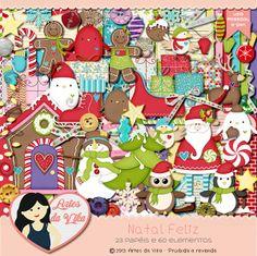 Artes da Vika: Kit Digital Natal Feliz + kit para Impressão + Kit Festa