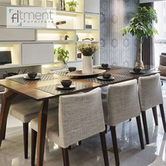 Custom made dining table and chairs Get in touch: www. Kitchen Decor, Kitchen Design, Interior Design Dubai, Dining Table Chairs, Interior Styling, Design Inspiration, Touch, Furniture, Home Decor