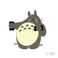 Mon Voisin Totoro, masterpiece from Hayao Miyazaki, marveled lot of children. Australian graphic designer CL Terry make in Totoro one of her favorite subject. Gif Totoro, Totoro Ghibli, Hayao Miyazaki, Animated Emoticons, Animated Cartoons, Emoji Emoticons, Studio Ghibli Characters, Image Chat, Studio Ghibli Art