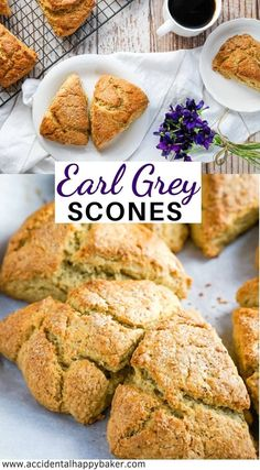 Tea lovers will delight in these Earl Grey Scones. Light and flaky scones are delicately flavored with Earl Grey tea for a tea time treat you can't resist. Delicious Breakfast Recipes, Brunch Recipes, Snack Recipes, Cooking Recipes, Yummy Food, Dinner Recipes, Baker Recipes, Brunch Ideas, Breakfast Ideas