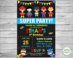 Superhero Personalized Invitation, Super Hero Invite, Custom, Digital, Printable, Birthday Party, 1st Birthday, Photo, Boy, Girl, Cute