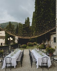 The beauty of string lights is that they aren't too heavy and can be strung nearly anywhere. Take this lovely al fresco dinner, where Italian Eye and GB Audio used a few poles with bases to install twinkling strands. What that means is they can go over any part ofyour ceremony, cocktail hour, or reception.