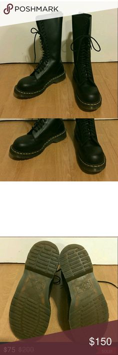 Doc Marten 20 hole steel toe size 8.5 Beautiful boots bought them and they were too big Dr. Martens Shoes Combat & Moto Boots