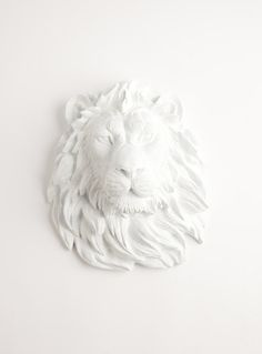 Faux Taxidermied Lion Head, The Walter, White Resin Lion Head Wall Sculpture, Chic African Animal Head Wall Hanging by White Faux Taxidermy Wall Sculptures, Lion Sculpture, Blush Wedding Cakes, Walter White, Strong Nails, Faux Taxidermy, 3d Prints, Animal Heads, African Animals