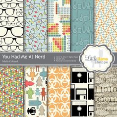 Geek Chic Digital Paper Pack Nerd Scrapbook by LittleLlamaShoppe