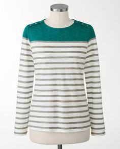 Pure Cotton stripe mix top - [K20211]