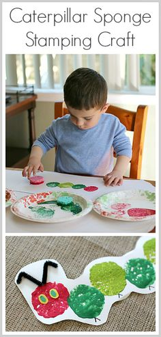 Create your very own Very Hungry Caterpillar with this sponge stamping craft.