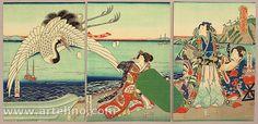 Prince Genji and Crane - Fusatane Utagawa