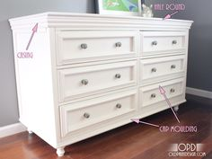 adding decorative moulding to dresser drawers   ... Here is an overall shot of how the moulding is added to the dresser