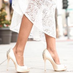 Kiara - Ivory Satin Heels by Badgley Mischka at Zappos.com #losangeles #zappos #heels #shoes #badgleymischka