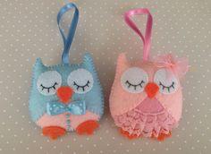 Felt owls, Felt ornaments, Baby owl, Felt toys, Owl decorations, Felt animals, Pink owl, Blue owl, Owl couple, Birthday owl decor by SnowFelts on Etsy https://www.etsy.com/listing/274025368/felt-owls-felt-ornaments-baby-owl-felt