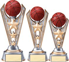 Silver with gold accented poly-resin trophy. Three stars fill the riser elevating the ball. Includes a personalized engraving plate with 3 lines of engraving. 30 characters/spaces per line. Basketball Trophies, Basketball Awards, Certificate Frames, Trophy Design, Gold Stars, Victorious, Fill, How To Memorize Things, Resin