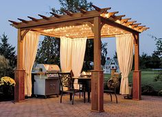 Great idea to enjoy a meal outdoors with subtle lighting under a beautifully designed pergola