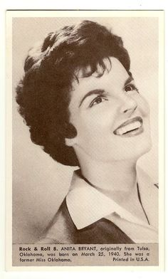 Anita Bryant   Number 8  Collectible Rock and Roll  Arcade or Exhibit Card