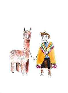 Peruvian Farmer with Larma by DickVincent on Etsy