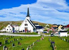 Idyllic white, wooden chapel and a cemetery are in the center of Bugøynes, in Finnmark county in northeastern Norway. Travel Pictures, Travel Photos, Visit Norway, Fishing Villages, Cemetery, Dolores Park, Travel Photography, Mansions, House Styles