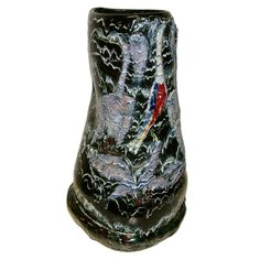 "Monumental San Polo Ceramic Vase by Otello Rosa  A monumental ceramic sculptural vase with a high glaze surface titled ""LA Roccia"" depicting abstract stylized birds. Otello Rosa worked in Venezia, Italy and was one of the leading potters in the 1950's and 1960's. This important work by Otello Rosa was probably an exhibition piece and is signed and titled under the base. Two paper labels are applied to the inside rim at top of vase. The vase has a weight of 27lbs."
