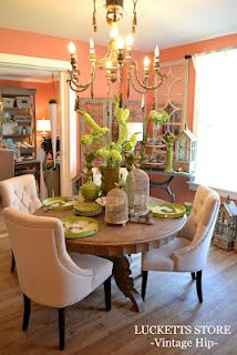 Lucketts Store... pink and green dining room