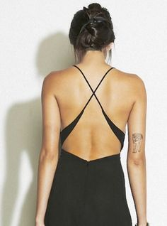Backless dress, straps that narrow and cross
