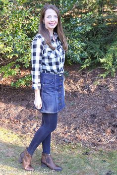 Plaid shirt and denim skirt!  Great outfit for fall or early spring!  Casual street style ideas for everyday women from Running in a Skirt