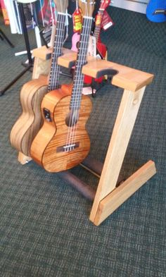 3 space Ukulele/Mandolin stand handcrafted from by AllwoodStands