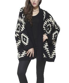 Another great find on #zulily! Black & White Tribal Open Cardigan - Women by Simply Couture #zulilyfinds