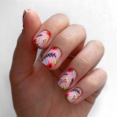 Natural Nail Designs, Short Nail Designs, Nail Art Designs, Nail Extensions Acrylic, Almond Nails Designs Summer, Short Nails Art, Manicure Y Pedicure, Dipped Nails, Minimalist Nails