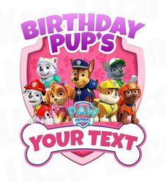 Paw Patrol Iron On Transfer - Pink Bone | Add Family Members