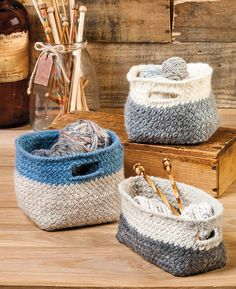 Knitting Pattern for Modern Cubist Baskets - Easy basket trio is a quick knit in bulky yarn. Finished measurements: Small basket: 5″ W x 5″ L x 5″ D, Large basket: 6″ W x 6″ L x 6″ D, Rectangle basket: 4″ W x 8″ L x 4″ D