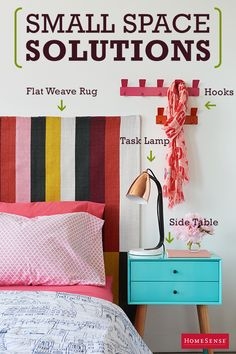 Make the most of your small bedroom with bright colors and space-saving strategies. Swap out a traditional upholstered headboard for a flat weave rug to save space and transform the bed into an eye-catching focal point.  Find endless possibilities perfectly priced at HomeSense.