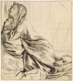 https://flic.kr/p/agsUxp | Dante Gabriel Rossetti - Mariana in the South (Compositional Study, Pen and Ink Drawing)