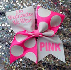 Cheer bow.  On Wednesday...pink by SarahsCheerBows on Etsy