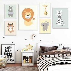 Buy NDITB Woodland Animal Tiger Elephant Canvas Painting Cartoon Wall Art Posters Nursery Prints Nordic Kids Decoration Pictures at Wish - Shopping Made Fun Ikea Kids Room, Kids Room Wall Art, Kids Rooms, Nursery Canvas, Nursery Prints, Nursery Decor, Kids Room Curtains, Decorating With Pictures, Decoration Pictures