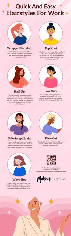 Are hairstyles for your Zoom meetings too much of a hassle for you? Say no more to hard-to-create styles for your hair. Here are 20 easy hairstyles for work with a step-by-step guide you can do in a jiffy! #MakeupTutorials #Hairstyles Easy Work Hairstyles, Messy Bun Hairstyles, Short Hair Updo, Retro Hairstyles, Easy Side Braid, Easy Chignon, Messy Haircut, Bun Tutorials, Twist Ponytail