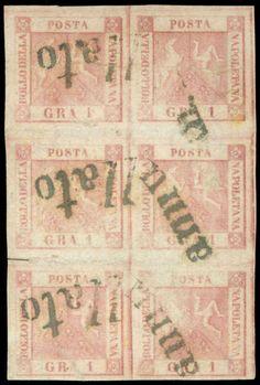 Early States Naples. NAPOLI, 1 gr. rosa carminio II tavola (Sass.4) blocco verticale di sei, timbrato con tre impronte di annullo a Svolazzo (tipo 8). Margini da buoni ad ottimi. Firma Sassone e cert. Avi.