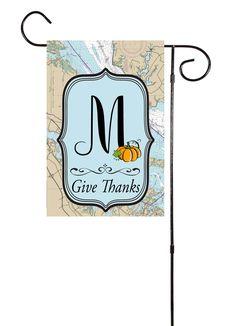 Give Thanks - Thanksgiving Initial Nautical Garden Flag