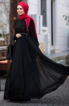 Muslima Wear Mevlana Elbise 1601003 Siyah