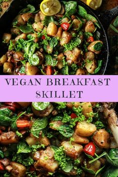 Loving this yummy vegan breakfast skillet recipe Vegan Foods, Vegan Dishes, Healthy Foods To Eat, Healthy Recipes, Vegan Meals, Paleo Diet, Eating Healthy, Clean Eating, Vegan Breakfast Recipes