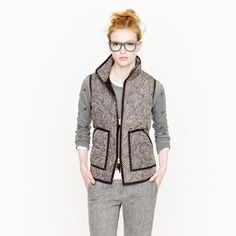 J.Crew Herringbone Excursion Quilted Puffer Vest Trendy Authentic J.Crew excursion puffer vest. Herringbone print. Down-filled Polly. Gold zipper. Excellent condition! $138 RETAIL. J. Crew Jackets & Coats Vests