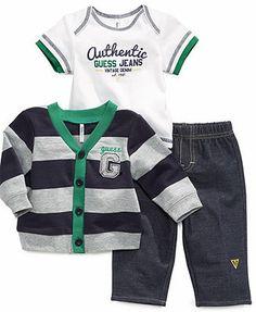 GUESS Baby Set, Baby Boys Newborn 3-Piece Tee, Cardigan and Pants