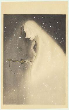 Uemura Shoen (1875 - 1949) Original Japanese Woodblock Print   Ghost with Sword