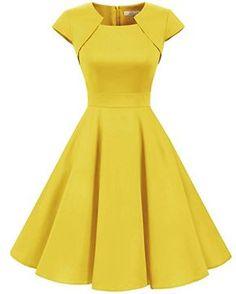 Homrain Women's Retro Vintage A-Line Cap Sleeve Cocktail Swing Party Dress Yellow Vintage Dresses 50s, Retro Dress, Retro Vintage, Cute Dresses, Short Sleeve Dresses, Formal Dresses, Style Audrey Hepburn, Mode Chic, Blouse Dress