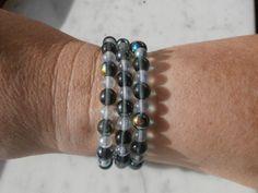 Bracciale triplo, con perle in mezzo cristallo colorato