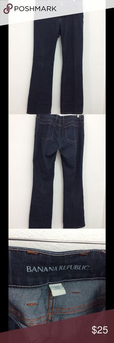 Women Banana Republic Navy Blue Jeans Size 30 Used but still has life left. Size 30. Banana Republic Jeans Flare & Wide Leg