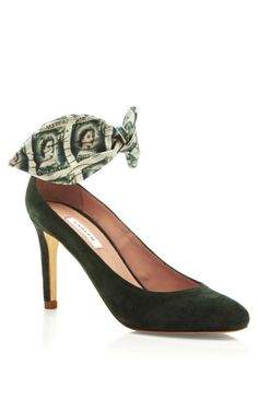 Suede and Stamp Print Bow Heel by Carven - Moda Operandi