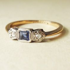 Edwardian Rose Cut Diamond, Platinum & Sapphire Engagement Ring, 9k Gold Ring, Approximate Size US 5.25    This amazing ring is c.1910s, 9k yellow